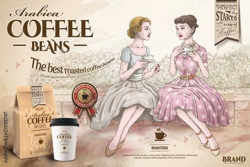 Obraz Retro coffee beans ads - fototapety do salonu
