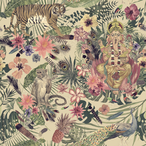 Sesmless hand drawn watercolor pattern with Ganesha, tiger, monkey, peacock, feathers, flowers Fototapet