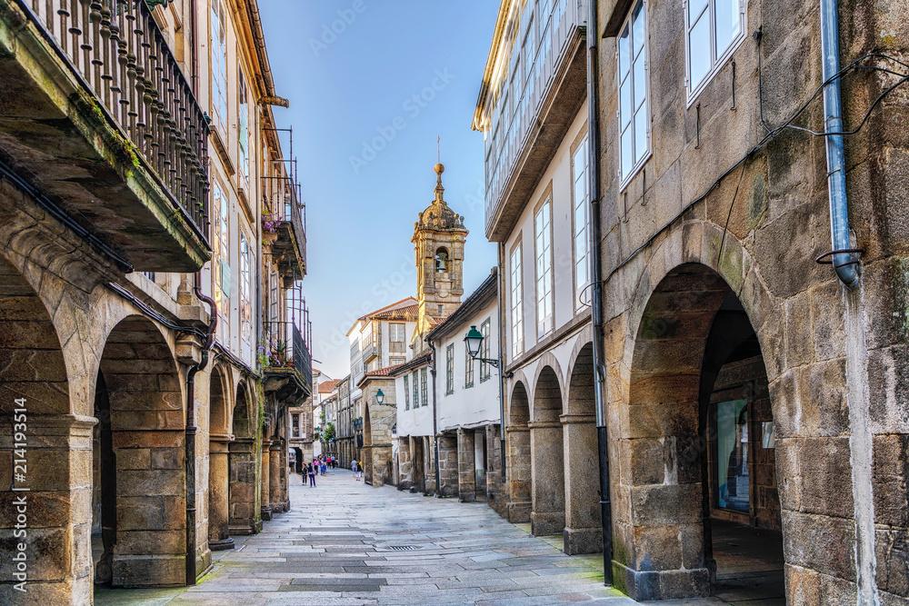 Fototapety, obrazy: Narrow street in old town Santiago de Compostela, Galicia, Spain.