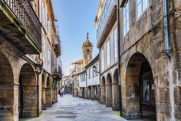 Narrow street in old town Santiago de Compostela, Galicia, Spain.