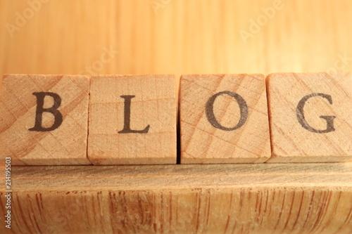 Fotografia, Obraz  Wooden Block Text of Blog