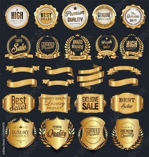 Fototapety, obrazy: Super sale retro golden badges and labels vector collection