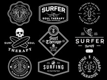 White On Black Surf Badges Vol...