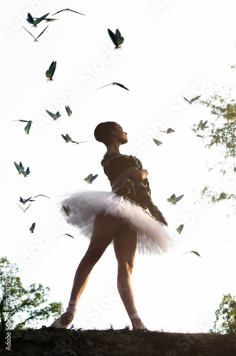 Ballerina posing in nature Canvas Print