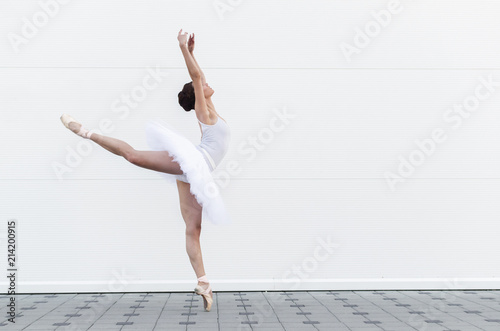 Ballerina in classic ballet position Canvas Print