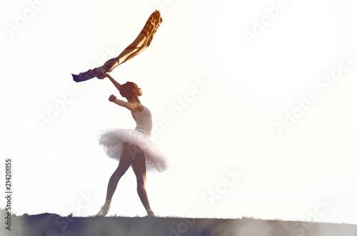 Ballerina posing in tutu outside Wallpaper Mural