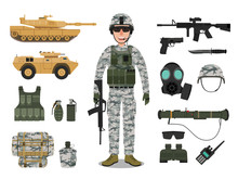 Army Soldier Character With Mi...