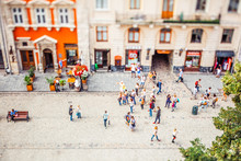 View On Market Square From Lviv City Hall. Tilt-shift Lens.