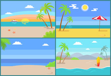 Summertime Paradise Set Of Vector Sandy Beaches