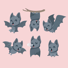Set Of Cute Bats On Pastel Background.