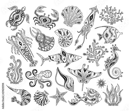Fototapeta premium Vector silhouettes of marine life. Black and white decorative inhabitants of the ocean. Stencils. Patterns for coloring.