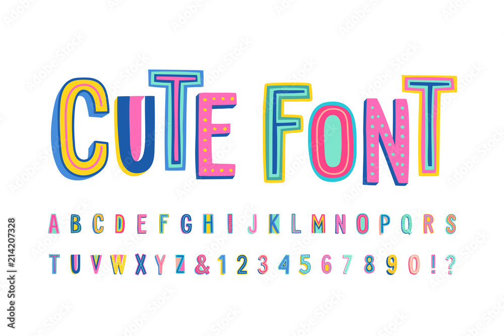 Fototapety, obrazy: Uppercase cute alphabet font. Letters, numbers and symbols. Vector