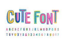 Uppercase Cute Alphabet Font. Letters, Numbers And Symbols. Vector