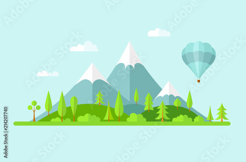 Keuken foto achterwand Turkoois Vector summer landscape. Panorama with mountains of forest, hills and a balloon. Banner in the flat style on the theme of travel and green tourism.
