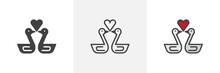 Swans In Love With Heart Icon. Line, Solid And Filled Outline Colorful Version, Outline And Filled Vector Sign. Symbol, Logo Illustration. Different Style Icons Set. Pixel Perfect Vector Graphics