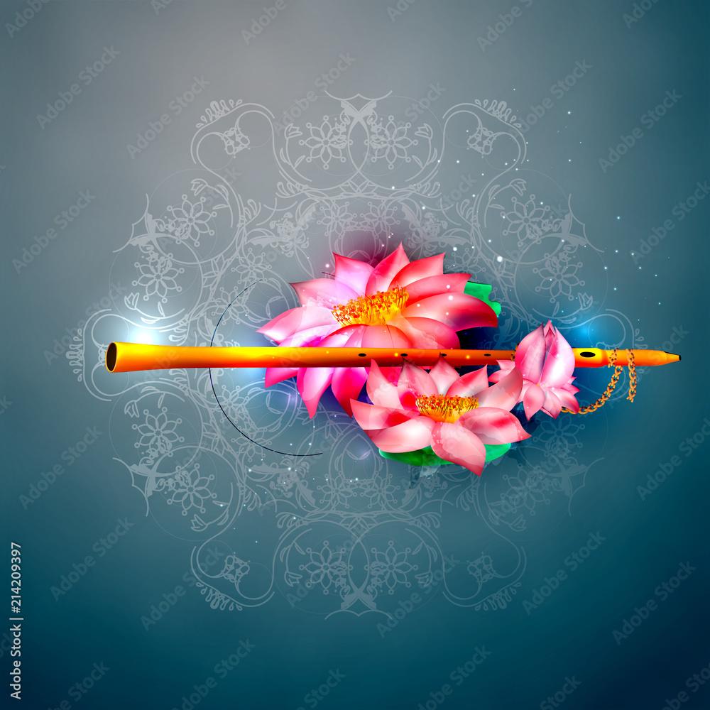 Fotografía Vector Concept Hare Krishna Lotus And Flute