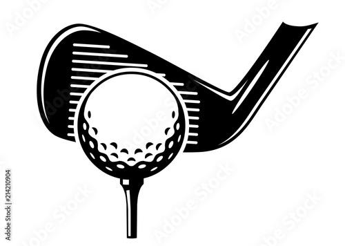 Cuadros en Lienzo Golfball auf Tee mit Eisen beim Abschlag / schwarz-weiß / Vektor / Icon