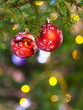 two red balls on natural fir christmas tree branch