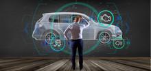 Man Holding A Smartcar Concept 3d Rendering