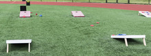 Field Set Up With Cornhole Boards For Gym Classes