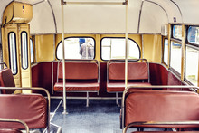 Old Trolleybus Interior With Retro Seats