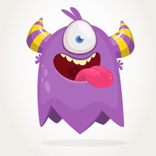 Cute Cartoon Monster  With Horns With One Eye. Smiling Monster Emotion With Big Mouth. Halloween Vector Illustration