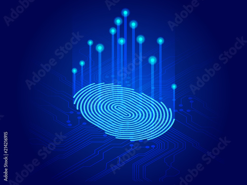 Obraz Isometric digital modern identify and measuring the bright fingerprint on the digital surface. Future of security, password control through fingerprints in immersive technology future and cybernetic - fototapety do salonu