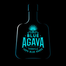 Tequila Emblem. Blue Agave Tequila Logo. Blue Vintage Letters And Agave Plant On Dark Background.