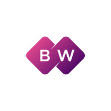 Two Letter Bw Diamond Rounded Logo