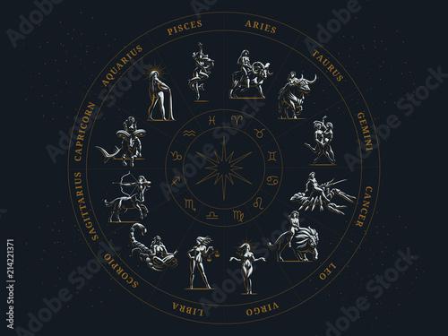Obraz The zodiac circle. Vector illustration. - fototapety do salonu