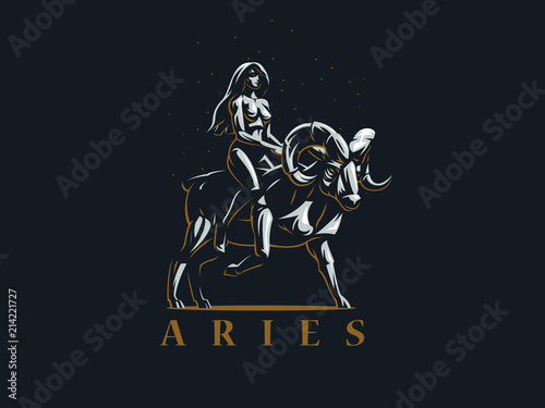 Sign of the zodiac Aries. The girl rides on Ram. Vector emblem. Canvas Print