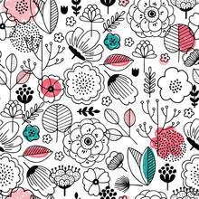 Summer Flower Seamless Pattern. Linear Kid Graphic. Florals Background. Scandinavian Style. Vector Illustration