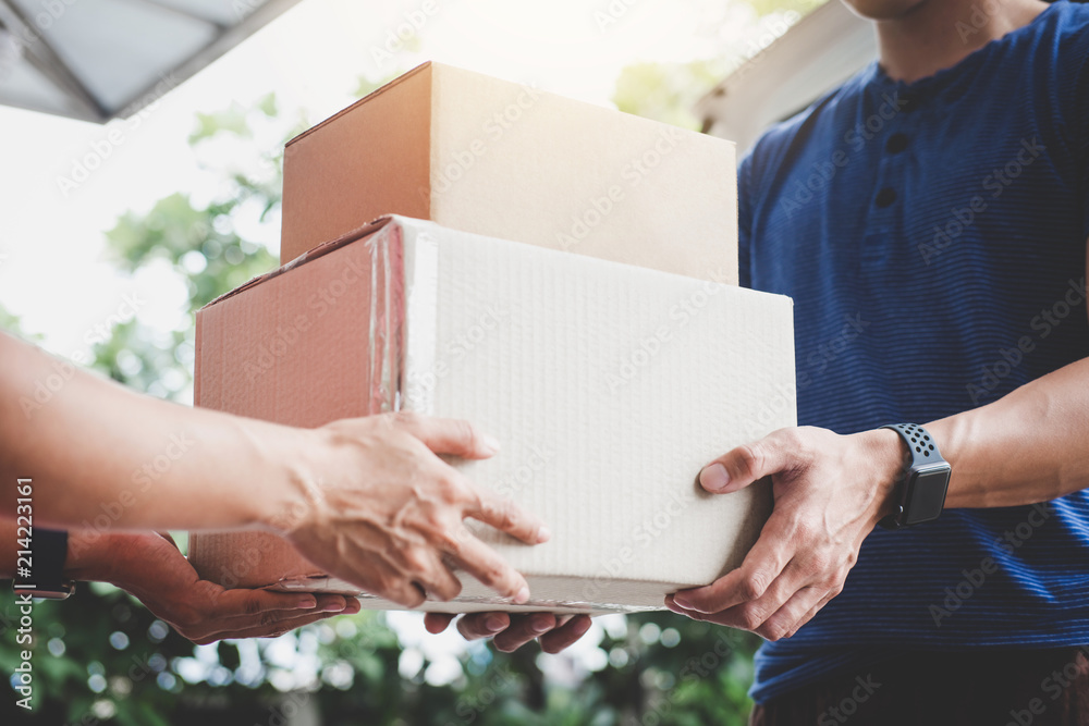 Fototapeta Home delivery service and working service mind, Woman customer hand receiving a cardboard boxes parcel from delivery service courier