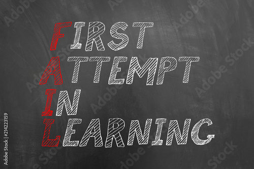 Fail first attempt in learning text on blackboard. Wallpaper Mural