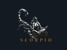 Sign Of The Zodiac Scorpio.  A Woman Meditates Next To A Scorpion.