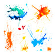 Set of colorful blots on white background