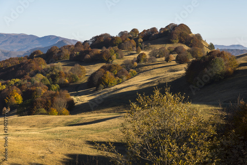 Fotobehang Grijze traf. autumn landscape on the mountains of Genoa in Liguria in Italy