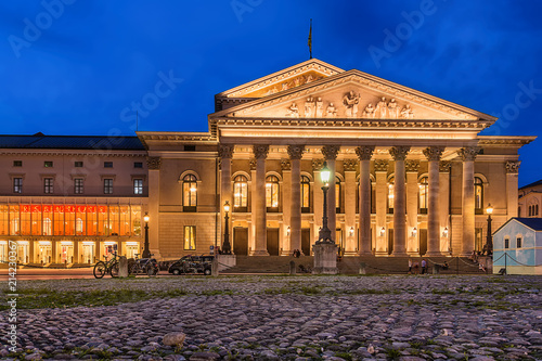 Poster Theater Munich, Germany June 09, 2018: The historic national theater in Munich, Germany, at night