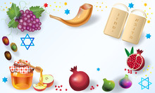"""Rosh Hashanah Greeting Card Jewish New Year """"Shana Tova!"""" On Hebrew. Honey, Apple, Shofar, Pomegranate, Torah Scroll Banner. Rosh Hashana, Sukkot, Vector"""