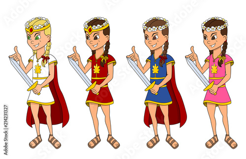 Cute princesses with swords cartoon