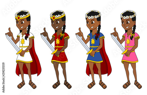 Cute ethnic princesses with swords cartoon