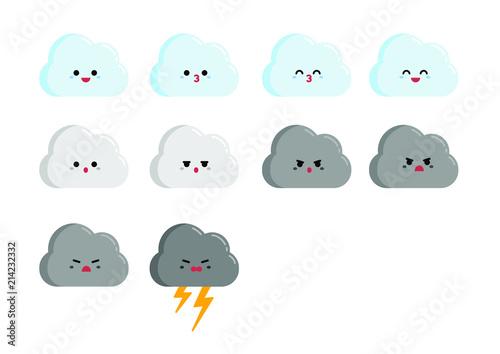 Vektor Chibi Wolke Charakter mit verschiedenen Stimmungen und Gesichtsausdrücken Canvas Print