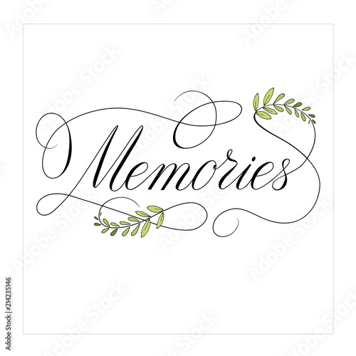 memories text calligraphy with flourish elements  vector Canvas-taulu