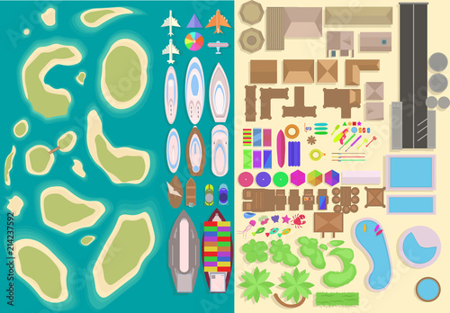 Obraz na plátne Island top view elements set