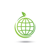World Eco Friendly Icon Green And Logo, Vector Illustration