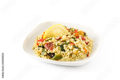 Couscous with vegetables isolated on white background