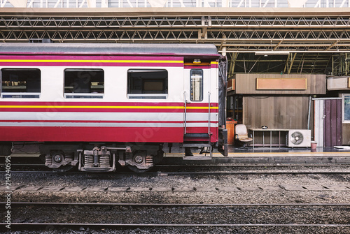 Side view of train bogies parking on at terminal at main central station for mai Canvas Print