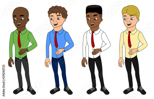 Cartoon of diverse casually dressed businessmen