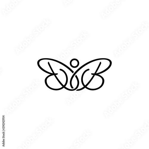 BB letter initial butterfly logo. Wallpaper Mural