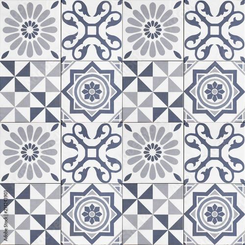 Materiał do szycia  wzór płytki - wzór płytki mozaiki geometrycznej-